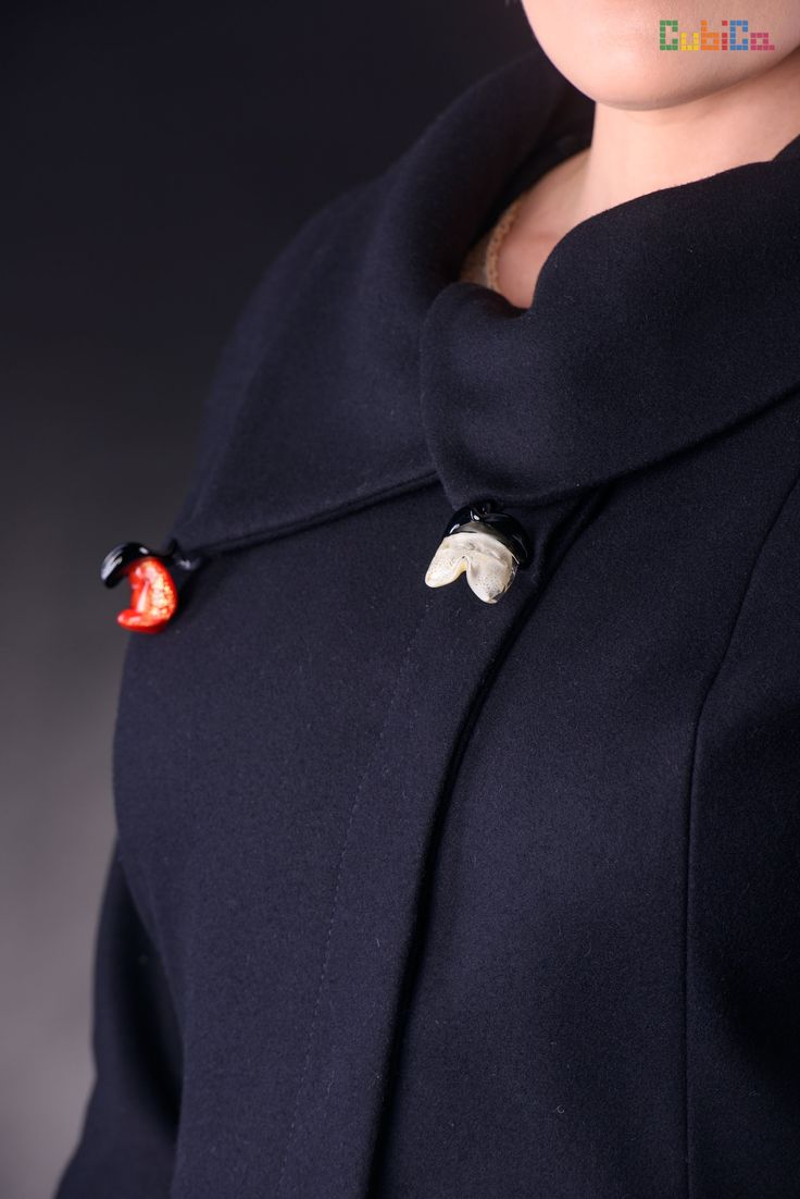 Alena wool & velvet coat murano collar & waist details CubiCa Peculiar collection