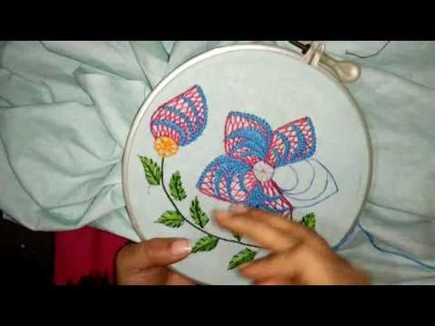 Hand embroidery- beautiful flower with just three simple stitch - YouTube