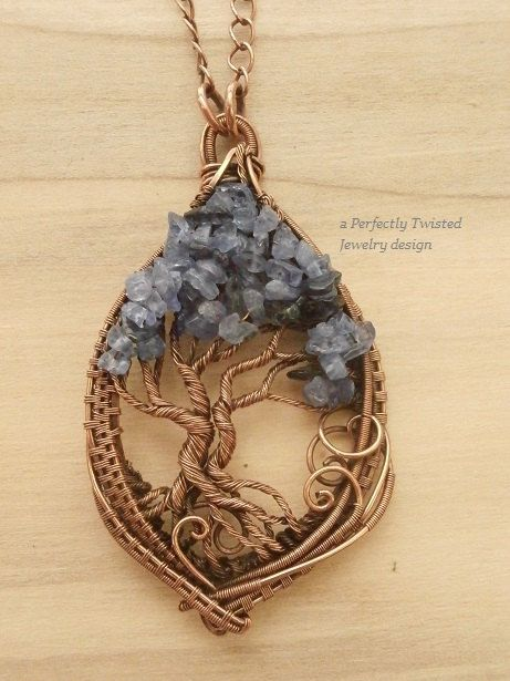 Wire Wrapped Tree of Life Pendant, Tanzanite & Iolite Gemstones, Handmade Jewelry Copper Wire Tree Jewelry. The pendant is 2.5 inches in height