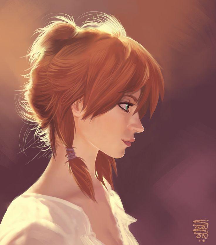 Красивая рыжеволосая девушка вышивка рисунок эскиз