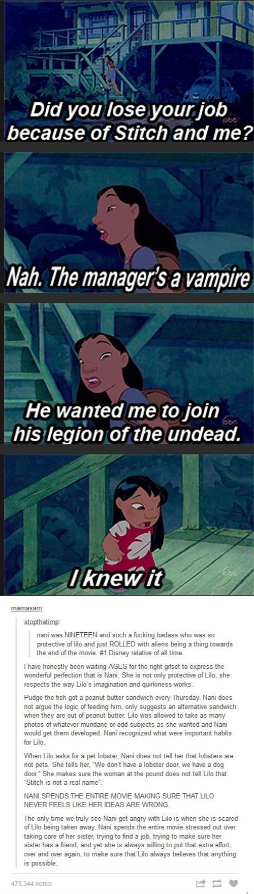 And this is why Nani is one of the best sisters on film. Not just Disney but in film or TV in general. And I love her for being so wonderfully loving and strong!