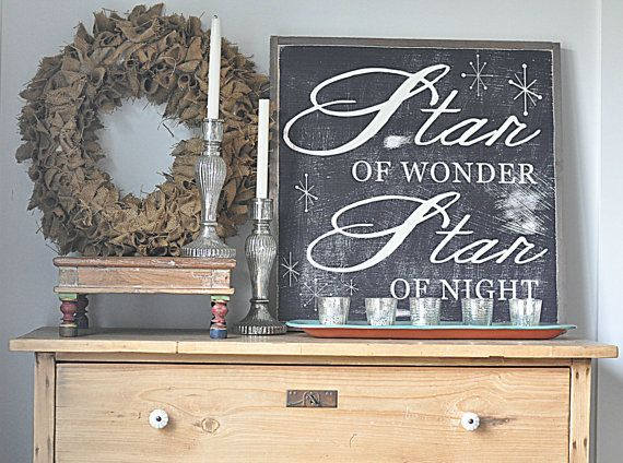 Star of Wonder Christmas sign on Etsy, $100.00 // For that price, I'm pretty sure I could hack it.