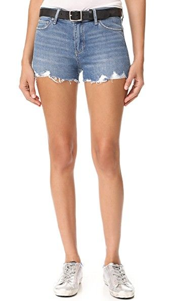 Get this PAIGE's denim shorts now! Click for more details. Worldwide shipping. PAIGE Vera Shorts: PAIGE denim cutoff shorts in a faded wash. Worn spots accentuate the broken-in look. 5-pocket styling. Button closure and zip fly. Fabric: Lightweight stretch denim. 94% cotton/5% polyester/1% elastane. Wash cold. Imported, China. Measurements Rise: 9.5in / 24cm Inseam: 2.25in / 5.5cm Measurements from size 27 (pantalón corto vaquero, vaquero, jean, jeans, tejano, tejanos, vaqueros, damaged…