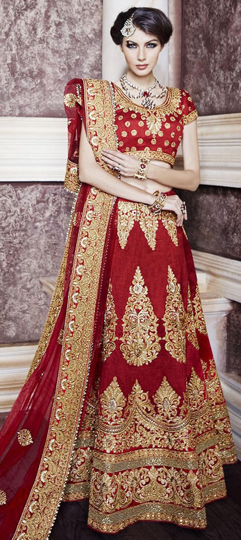 706522: Red and Maroon color family Bridal Lehenga .