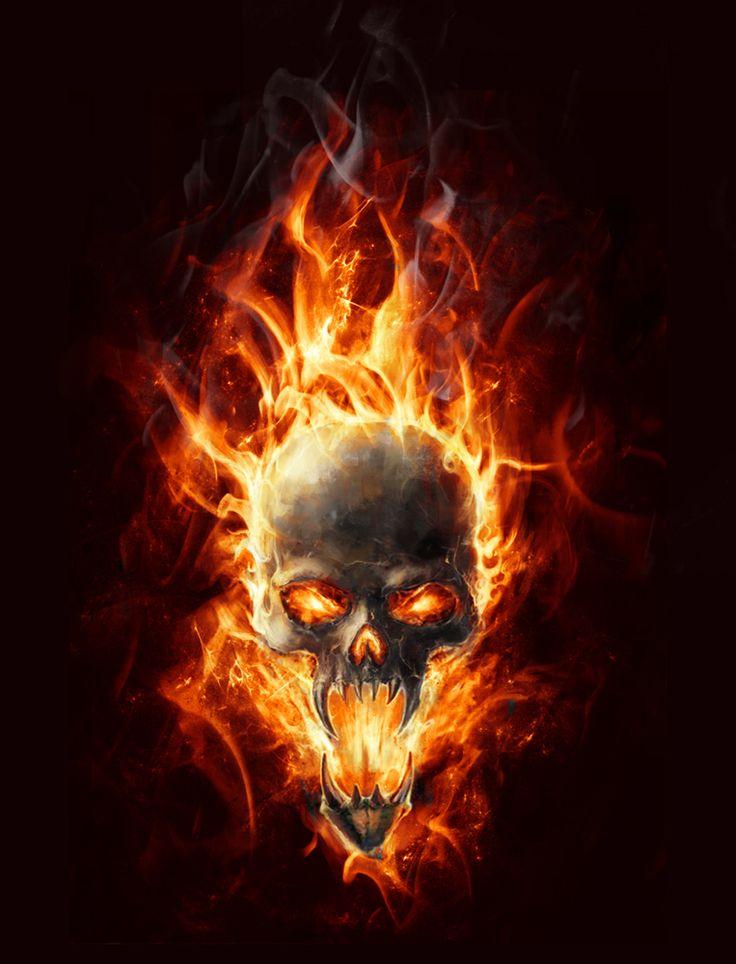 burning skull by