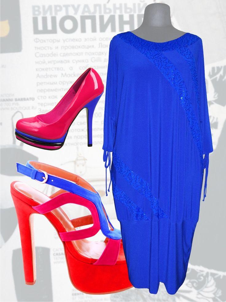 41$ Трикотажное нарядное платье свободного покроя для полных женщин с рукавами летучая мышь и с блестящими полосками из пайетки цвет электрик Артикул 622, р50-64