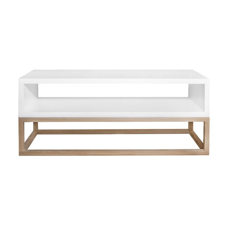 Coffee table white open cube on solid raw oak cubic frame