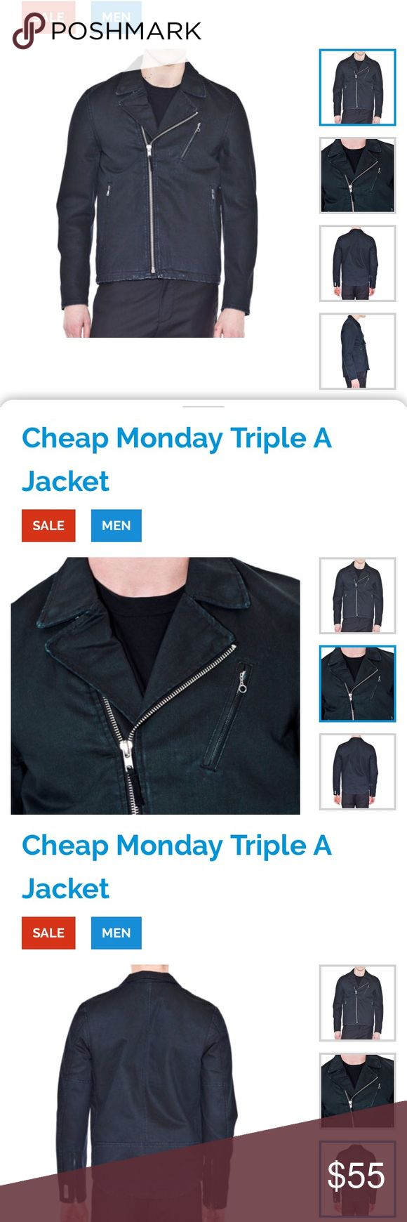 denim black jacket, Cheap  Monday Triple A Jacket New men's denim black jacket, brand Cheap  Monday Triple A Jacket Black size S  The Triple A by Cheap Monday is a washed denim jacket with soft lining and an inner pocket. The Triple A has two side pockets and a zippered chest pocket. Cheap Monday Jackets & Coats Lightweight & Shirt Jackets