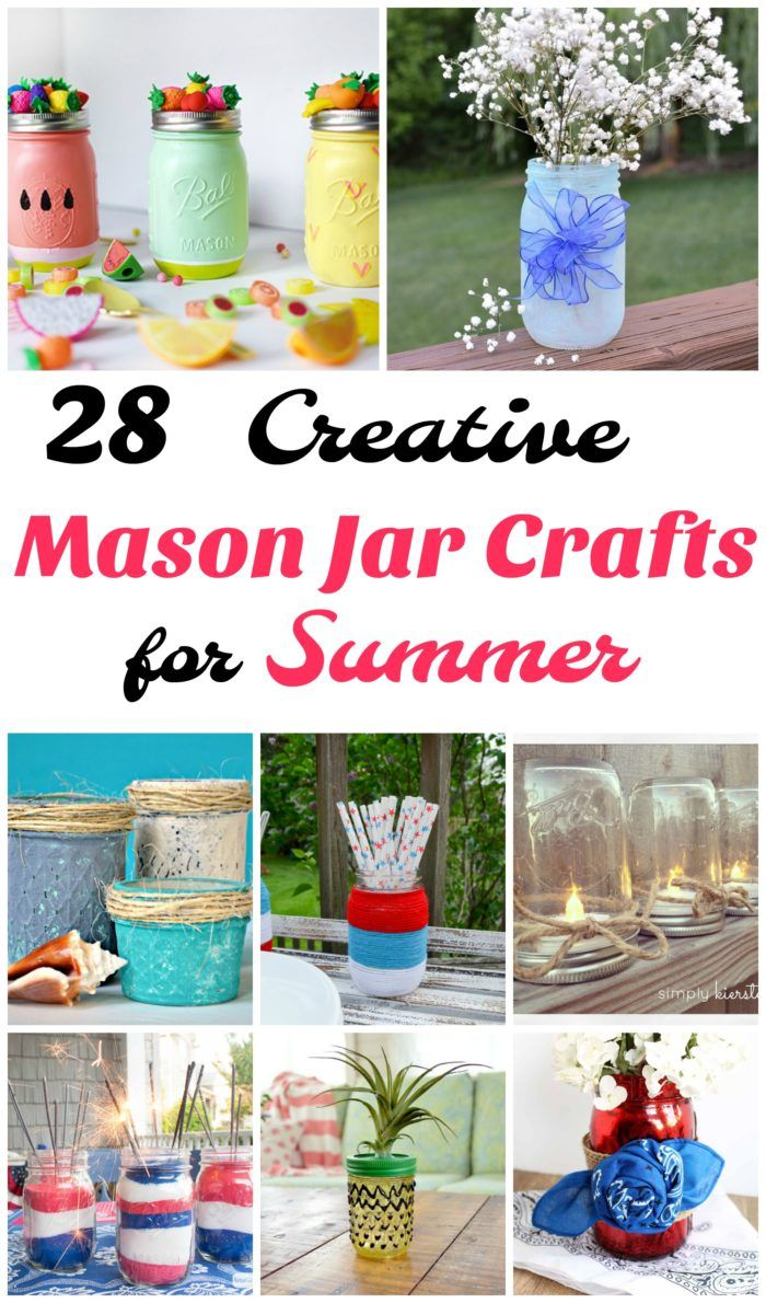 28 creative mason jar crafts for summer. These 28 different mason jar craft projects are perfect for spring and summer outdoor decorating and entertaining,  See tutorials on how to make everything from mason jar lanterns, to vases, to centerpieces and more.  Lots of great diy ideas. #DIY #crafts #masonjars #summer #homedecor