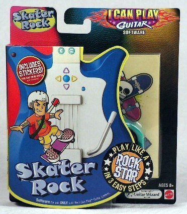SKATER ROCK by Fisher Price. $11.11. Music comes to life in fun video game like environments featuring kids? favorite characters and activities with easy-to-follow, color-coded ?notes? that your child plays using a customized guitar that plugs right into to the TV.. I Can Play Guitar makes learning to play as easy and fun as playing a game and in 3 easy steps you can be playing the guitar like a real rock star!. In 3 easy steps, the child can be playing like a rock sta...