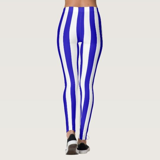 Marine stripes pattern medium lines blue & white leggings