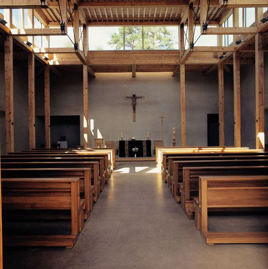 Timber construction. St. Klara - Catholic Church. Hille Strandskogen Arkitekter. Kongsvinger, 2001.