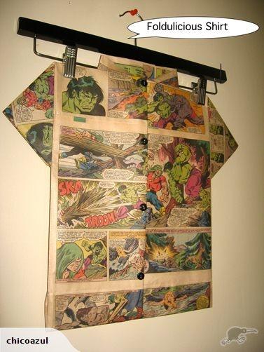 Folded Paper Art -Foldulicious Shirt- The Hulk | Trade Me  Facebook/foldulicousFrocksnfings