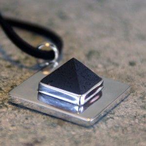 Handcut Genuine Raw Volcanic Lava flat silver base pyramid Pendant available :  www.lava-links.com