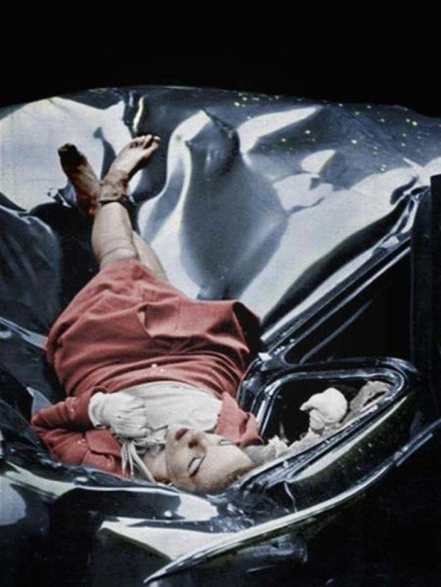 "23-year-old Evelyn McHale's body after leaping from the Empire State Building and landing on a United Nations limousine. Some call this picture ""the world's most beautiful suicide."""