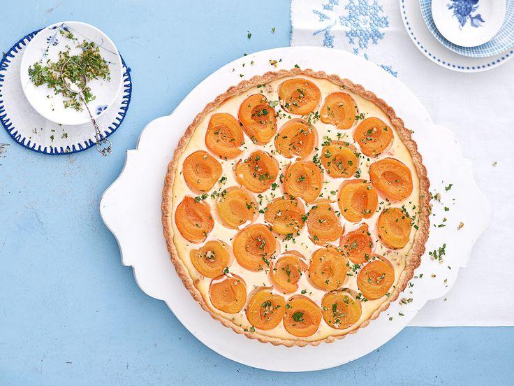 Verfeinert mit einer fruchtigen Melissen-Orangen-Gremolata – bei der Ricotta-Aprikosen-Tarte blinzelt uns die Sonne zu. http://www.fuersie.de/kochen/backrezepte/artikel/rezept-ricotta-aprikosen-tarte