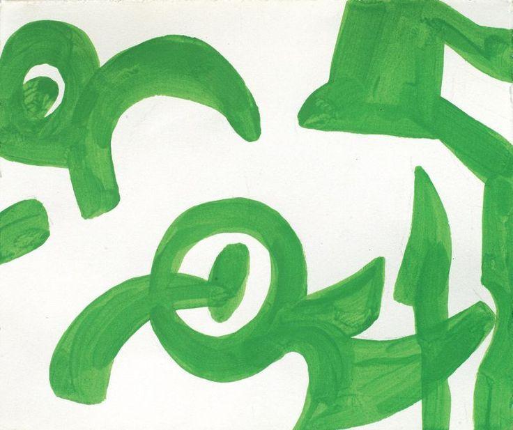 Carla Accardi - Verde - Tempera su carta - cm. 24x28,5