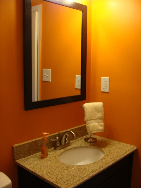 47 best images about guest bath burnt orange brown for Orange and brown bathroom ideas