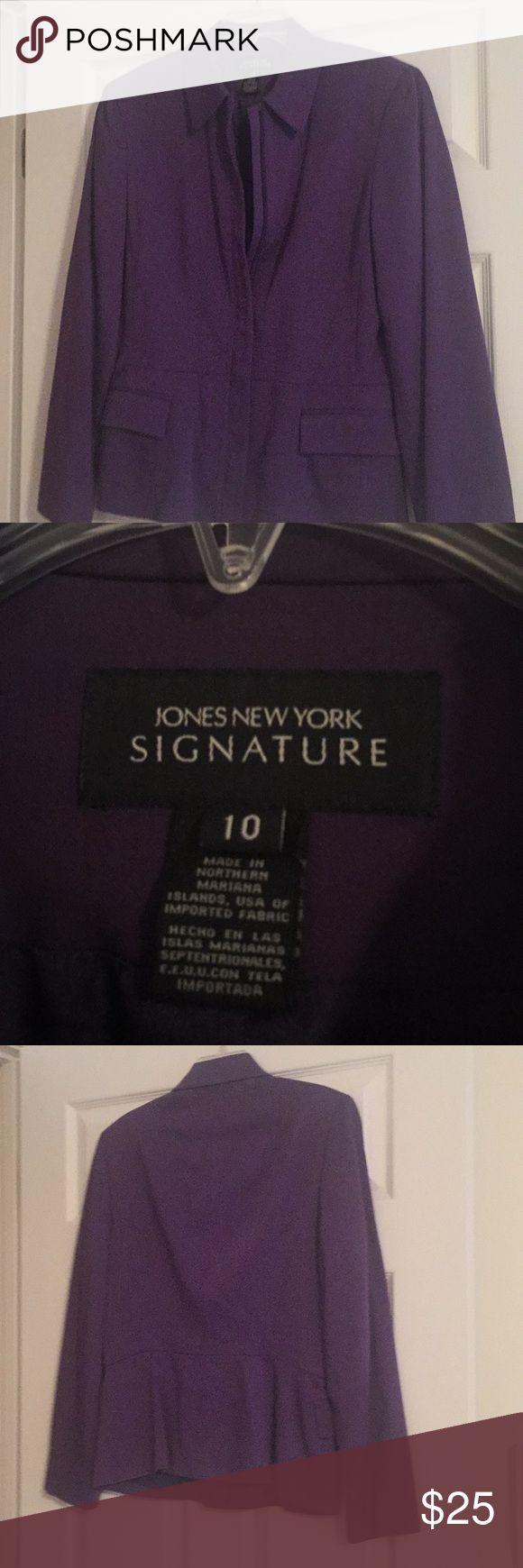 Jones New York purple blazer Jones New York purple blazer with zip front and peplum bottom in sz 10. Very flattering fit. Jones New York Jackets & Coats Blazers