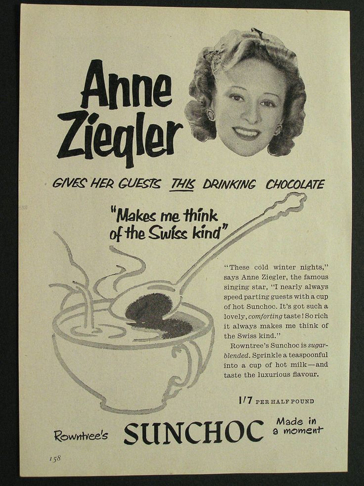 1950s advert for SUNCHOC Rowntree s drinking chocolate Anne Ziegler 1954