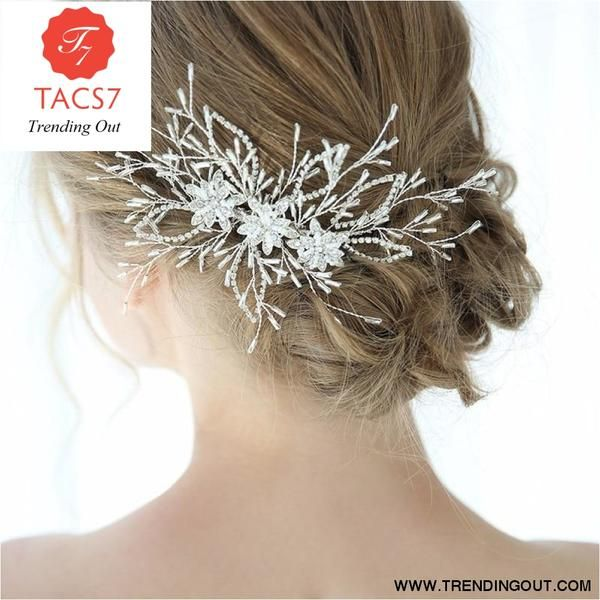 Silver Crystal Starburst Flower Bridal Prom Hair Grip Comb Accessory Decoration.