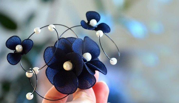 Wedding hair pin Black fascinator Headpiece Bridal hair piece Navy headpiece Wedding hair accessories