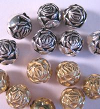 These metallic beads are lead-free, non-toxic, and will not chip, scratch or peel. Sold in packages of 60 beads. Use No. 13 eye pins or No. 3 parts unit. For gold beads use No. 5013 eye pins or No. 5003 parts unit.
