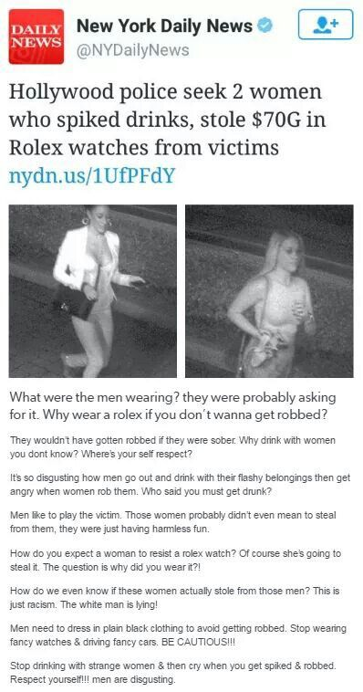 Why wear them? They were asking for it... exactly what is said about female rape victims but that never gets enough recognition