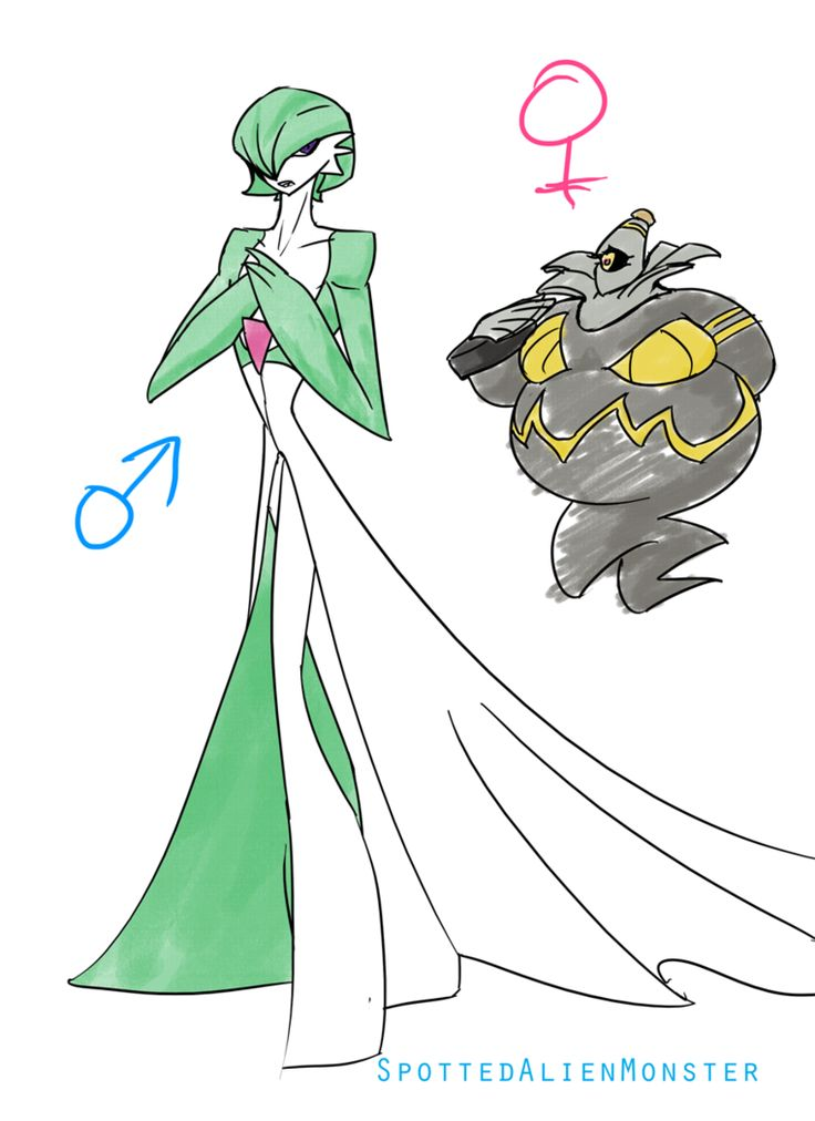 Male Gardevoir and Female Duskinoir by SpottedAlienMonster.