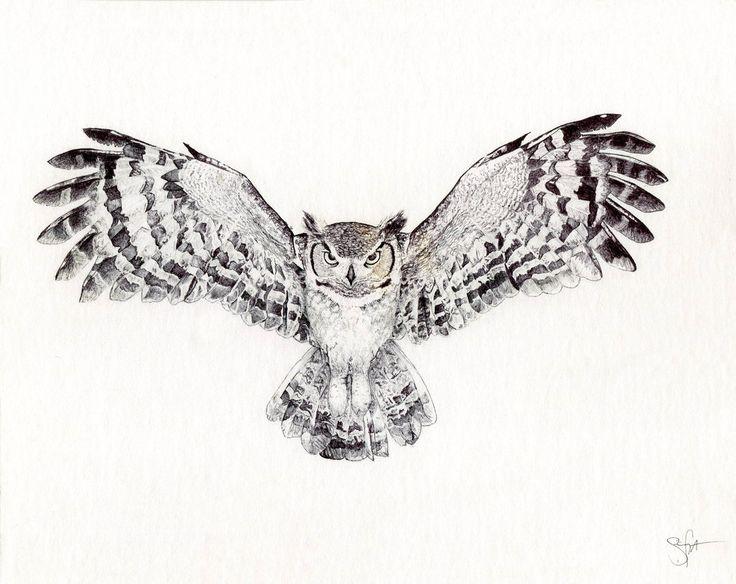 Owl Line Drawing Tattoo : Great horned owl by wingedkobrathethird sowa pinterest