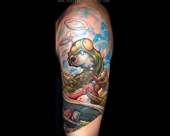 Graffiti tattoo artist Jesse Smith has created his own tattoo design of the hookah smoking caterpillar from Alice in Wonderland