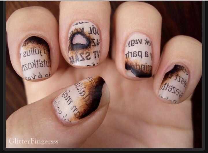 Burnt Newspaper Nails Nail Art Pinterest School Nails Diamond Nails And Newspaper Nails