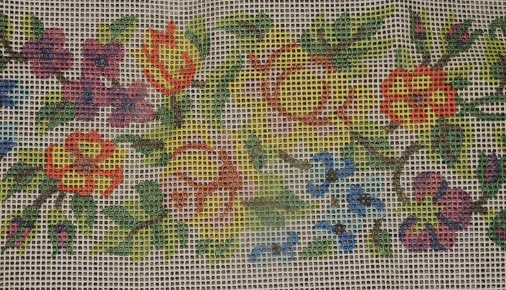 """Vintage Latch Hook Rug CANVAS ONLY  Flowers 27 x 46"""" Good Condition Pretty"""