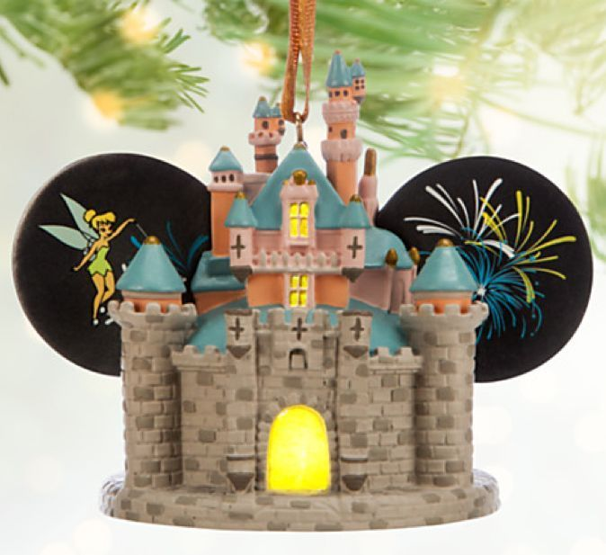 Disneyland Sleeping Beauty Castle Light Up Ear Hat Christmas Ornament! - Wishes come true when hanging this fully sculptured, light-up Sleeping Beauty Castle Ear Hat Ornament, complete with tiny Tinker Bell and fireworks. Magic memories of your visit to the Happiest Place on Earth will never fade.