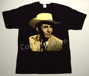 HANK WILLIAMS drawing 1 CUSTOM ART UNIQUE T-SHIRT  Each T-shirt is individually hand-painted, a true and unique work of art indeed!  To order this, or design your own custom T-shirt, please contact us at info@collectorware.com, or visit  http://www.collectorware.com/tees-hank_williams.htm
