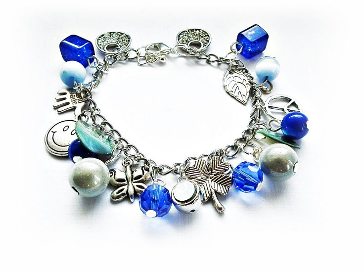 Charms Bracelet Sapphire Birthstones September Birthday Gift by MadeByJoLis on Etsy