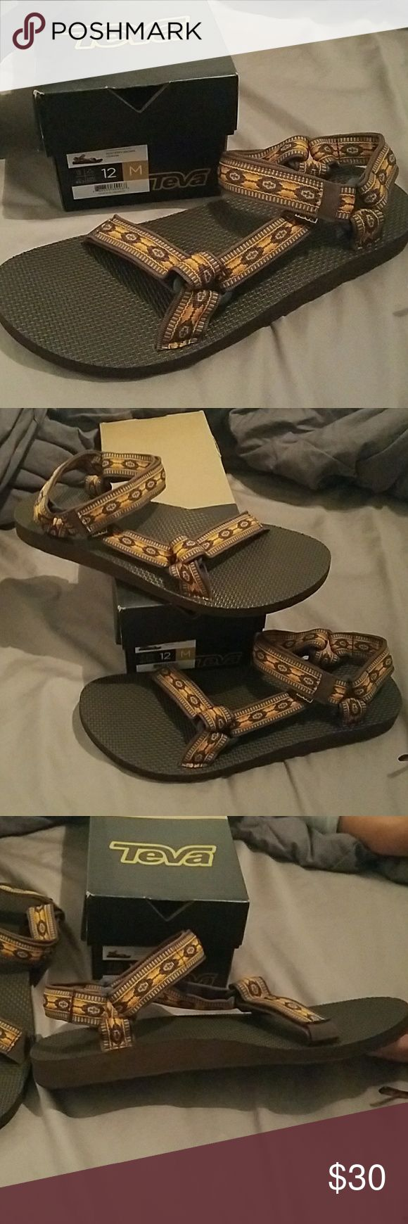 Teva, Men's sandals Aztec print Teva, Men's sandals, brown with beautiful Aztec print design. Velcro closure. Design colors are: brown, orange, gold & black. True to size. Size: 12 M Teva Shoes Sandals & Flip-Flops