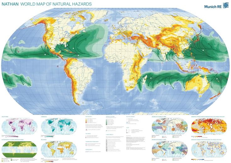World Map of Natural Hazards, from the Munich:Re NATHAN database (earthquakes, cyclones, volcanoes, tsunamis, wildfires, tornados, el niño and more) #map #munichre #disasters