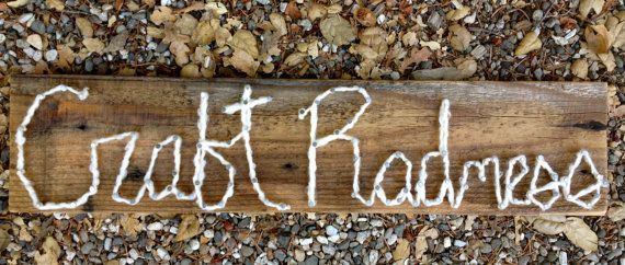 Reclaimed wood CRAFT RADNESS string art sign 1 by littleseaweeds