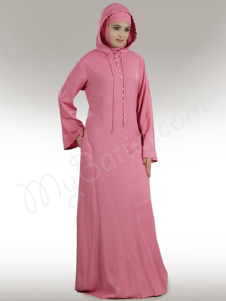 Casual Wear, Front Open look with non-functional buttons in front, Attached Hood, Utility pockets on both sides, Straight sleeves, Matching Hijab and Band can be bought separately