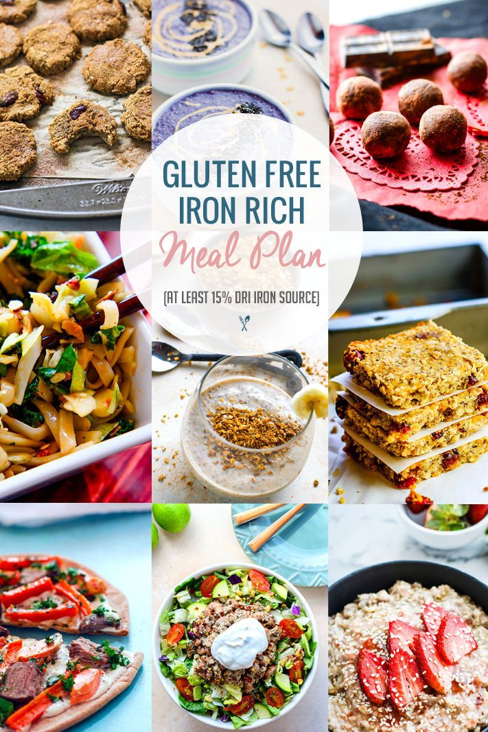 Iron Rich Healthy Gluten Free Meal Plan Ideas! Snacks and Meals with at Least 15% DRI Iron and loaded with Vitamin C to help with absorption. Easy gluten free meal plan ideas to boost your health! @cottercrunch