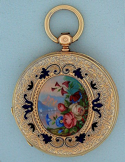 Beautiful Swiss 18 gold and painted enamel ladies keywind antique pendant watch retailed by Cooper, London, circa 1860. The engraved covers enriched with enamel foliage and centered with lovely and unusual painted enamel landscapes with bright flowers in the foregrounds. Overglaze scratched and small restorations. White enamel dial (tiny repairs) with blued steel hands. Gilt 13 jewel lever movement.