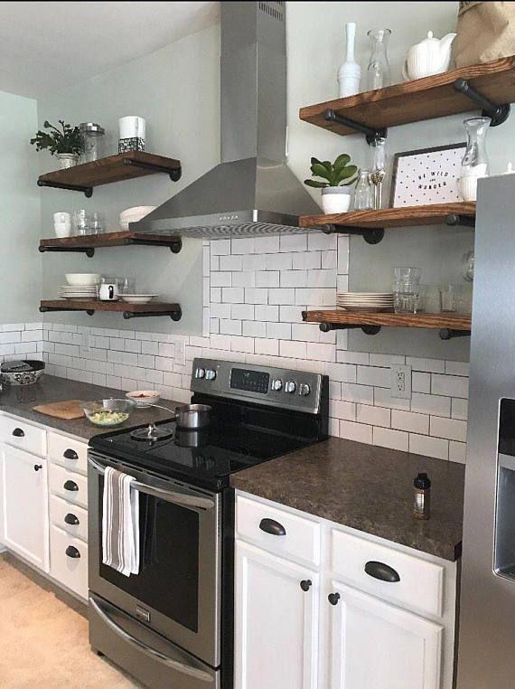 set of 3 12 depth open kitchen shelves industrial in 2020 on floating shelves kitchen id=43069