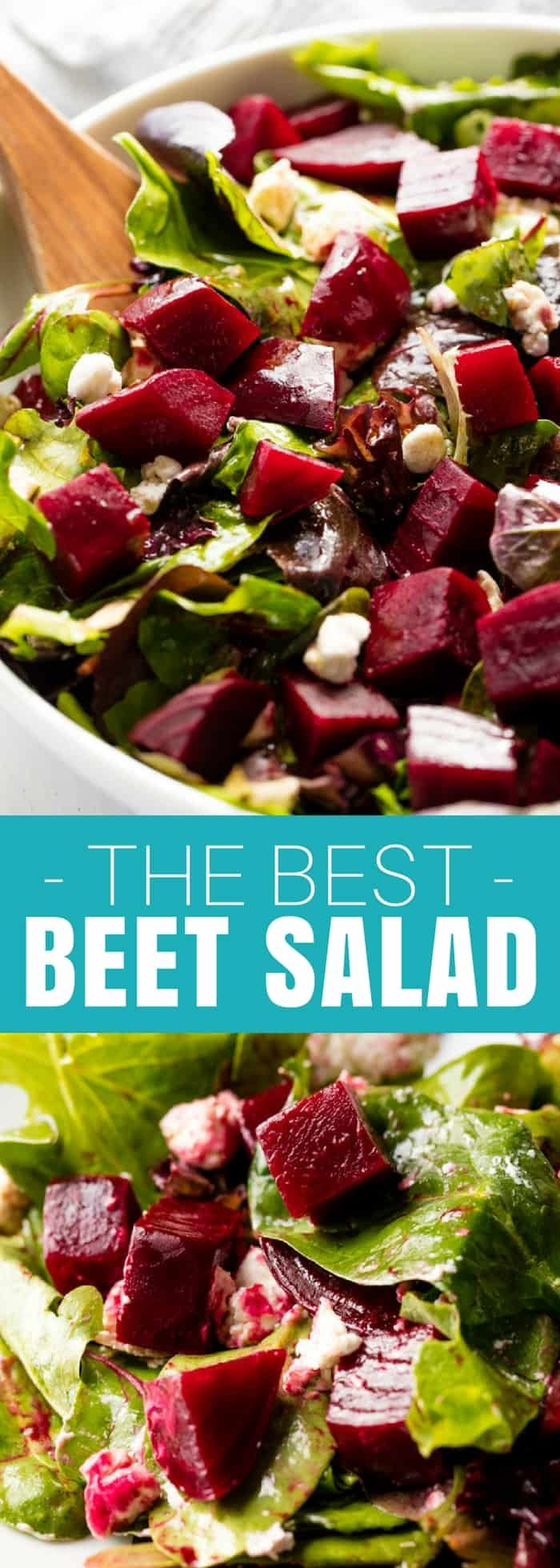 The Best Beet Salad has goat cheese and an orange-balsamic vinaigrette. It's simple to make, and delicious!  #Salad #HealthyRecipes