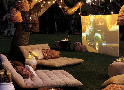 outdoor screening: Ideas, Dream, Movies, Backyard Movie, House, Movie Nights, Garden, Outdoor Movie, Backyards