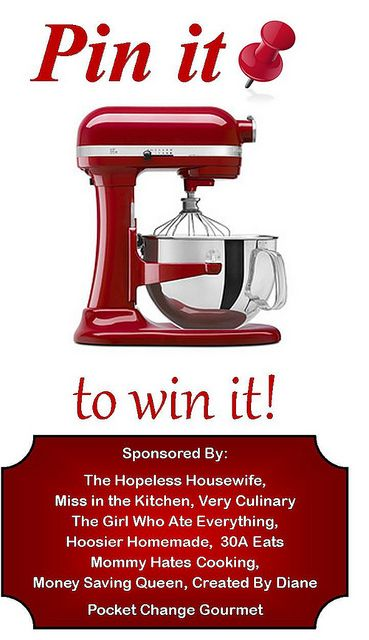 Pin it to Win it!  Win a $500 KitchenAid Stand Mixer!