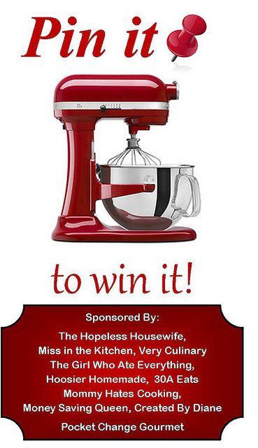 Pin it to Win it!  Win a $500 KitchenAid Stand Mixer!
