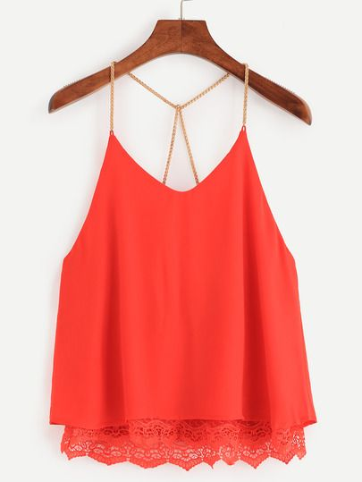 Red Lace Trimmed Chain Strap Chiffon Cami Top -SheIn(Sheinside) Mobile Site