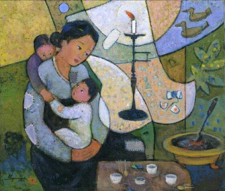 2016.01.23 화가 김부자... 어머니께 드리는 노래 ...이해인    어디에 계시든지  사랑으로 흘러  우리에겐 고향의 강이 되는  푸른 어머니   제 앞길만 가리며  바삐 사는 자식들에게  더러는 잊혀지면서도  보이지 않게 함께 있는 바람처럼  끝없는 용서로  우리를 감싸안은 어머니   당신의 고통 속에 생명을 받아  이만큼 자라 온 날들을  깊이 감사할 줄 모르는  우리의 무례함을 용서하십시오   기쁨보다는 근심이  만남보다는 이별이 더 많은  어머니의 언덕길에선  하얗게 머리 푼 억새풀처럼  흔들리는 슬픔도 모두 기도가 됩니다   삶이 고단하고 괴로울 때  눈물 속에서 불러보는  가장 따뜻한 이름, 어머니  집은 있어도  사랑이 없어 울고 있는  이 시대의 방황하는 자식들에게  영원한 그리움으로 다시 오십시오. 어머니   아름답게 열려 있는 사랑을 하고 싶지만  번번히 실패했던 어제의 기억을 묻고  우리도 이제는 어머니처럼  살아있는 강이 되겠습니다  목마른…