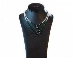 Emerald Silver Pear Double Strand